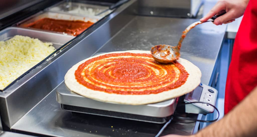 Sauce on a pizza